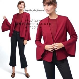 Anthropologie NWT cranberry bell sleeve blazer
